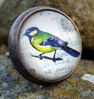 Metal vintage bird knob